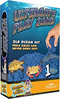 Discover with Dr. Cool Ultimate Ocean Play Sand - 2 LBS of Sand with Tray, 6 Ocean Molds, and 6 Marine Figures - Squeeze, Mold, and Scoop