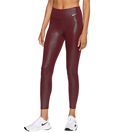 Nike One Tights 7/8 PP1 Sparkle (Dark Beetroot/White) Women
