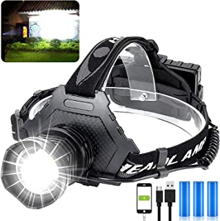 LED Rechargeable Headlamp 60000 High Lumen, XPH70 Brightest LED Work Headlight Zoomable, Waterproof, 5 Modes Lightweight H...
