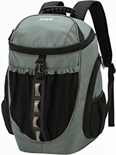 MIER Leakproof Backpack Cooler Men Women Insulated Backpack with Cooler Compartment for Lunch, Hiking, Beach, Picnic, Travel, Work, Multiple Pockets, 20 Can, Capulet Olive