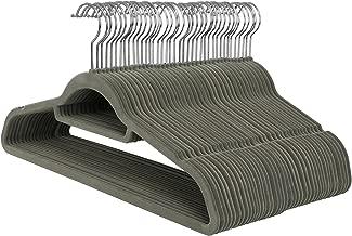 SONGMICS Kleiderbügel, Samt, 50 Stück, 0,6 cm dick, Anzugbügel Jackenbügel mit Rutschfester Oberfläche, mit Zwei Einkerbungen, 360°drehbarer Haken, Antirutsch, Grau CRF50V