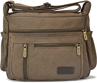 Qflmy Vintage Canvas Messenger Bag Handbag Crossbody Shoulder Bag Leisure Change Packet (Coffee)