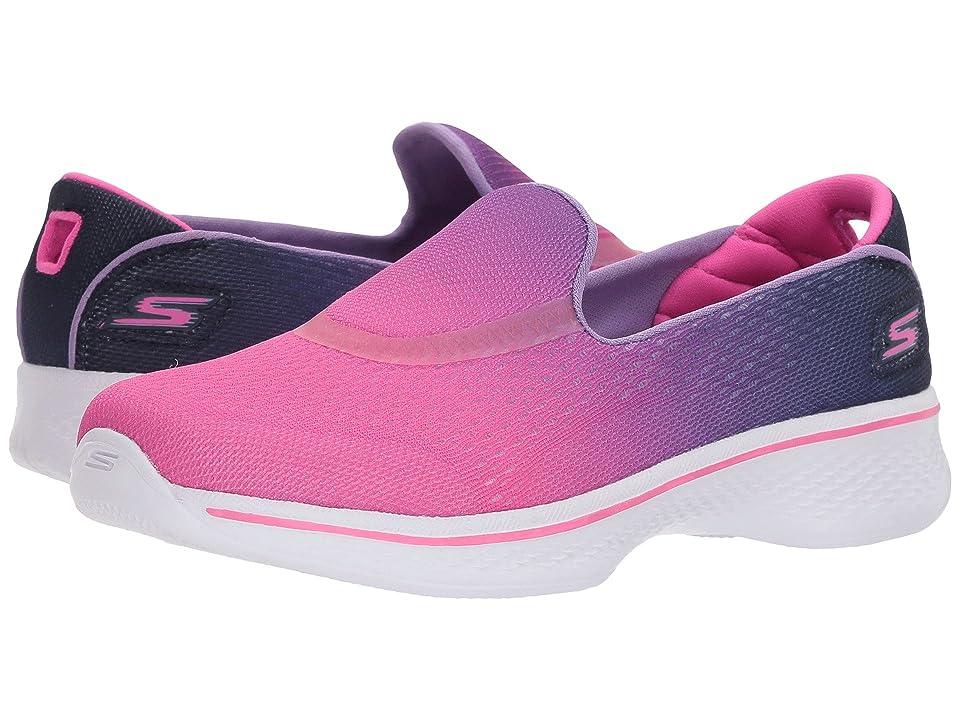SKECHERS KIDS Go Walk 4 Sporty Starz (Little Kid/Big Kid) (Hot Pink/Purple) Girl