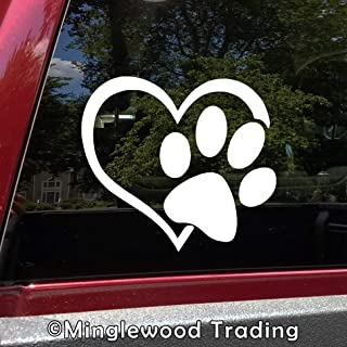 """Minglewood Trading - White - Heart with Paw Print 5"""" x 4.5"""" Vinyl Sticker - Love Dog Puppy Cat Kitten - Die Cut Decal - 20 Color Options"""