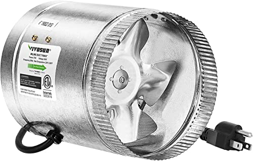 popular VIVOSUN discount 6 inch Inline Duct Fan 240 CFM, HVAC Exhaust Intake Fan, Low Noise & Extra Long 5.5' Grounded outlet sale Power Cord online
