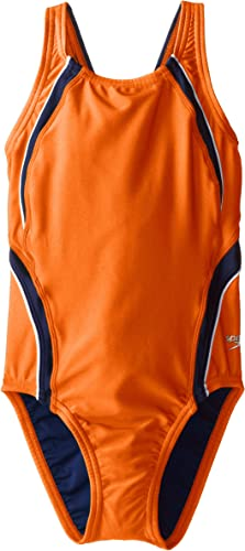 Speedo Big Girls' Taper Splice Youth Pulseback maillot de bain, Orange Navy, 26