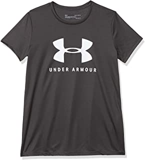Under Armour Girl's Solid Big Logo Tech Short Sleeve Top