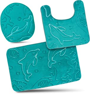 Bathroom Rug Mats Set 3 Piece - Memory Foam Extra Soft Shower Bath Rugs – Contour Mat and Lid Cover - Perfect Combination of Luxury and Comfort - Aqua Teal/Dolphins