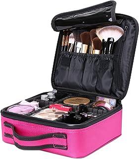 Luxspire Portátil Bolsa Cosmetica, Bolsa de neceser con gran capacidad y diseño divisible, Bolso de organizador maquillaje en viaje, Almacenamiento de Maquillaje Cosmético, Neceseres de viaje, Burdeos