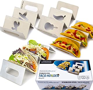Taco Holders Stainless Steel - Taco Rack Set of 4 - Taco Stand Dishwasher & Oven Safe - Taco Serving Tray
