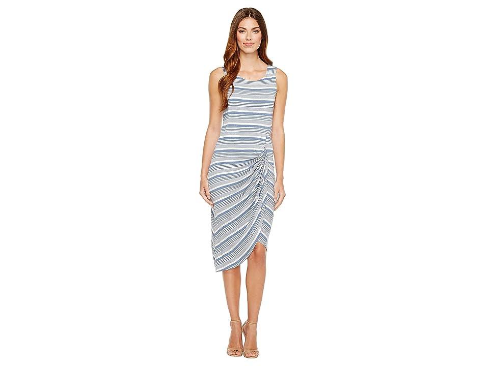 B Collection by Bobeau Side Gather Tank Dress (Blue Stripe) Women