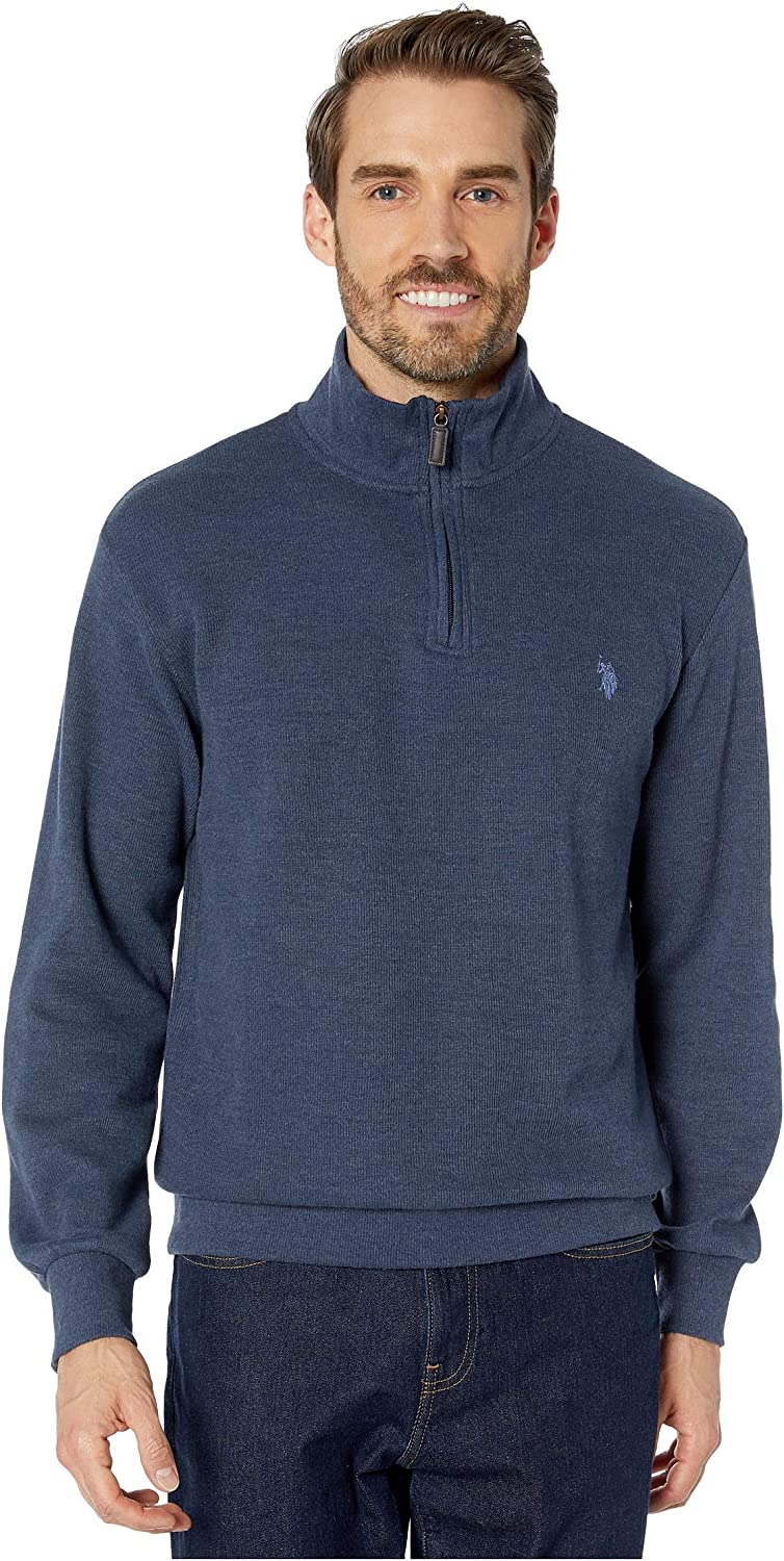 Polo Assn Mens 1//4 Zip Mock Neck Flat Back Rib Pullover U.S