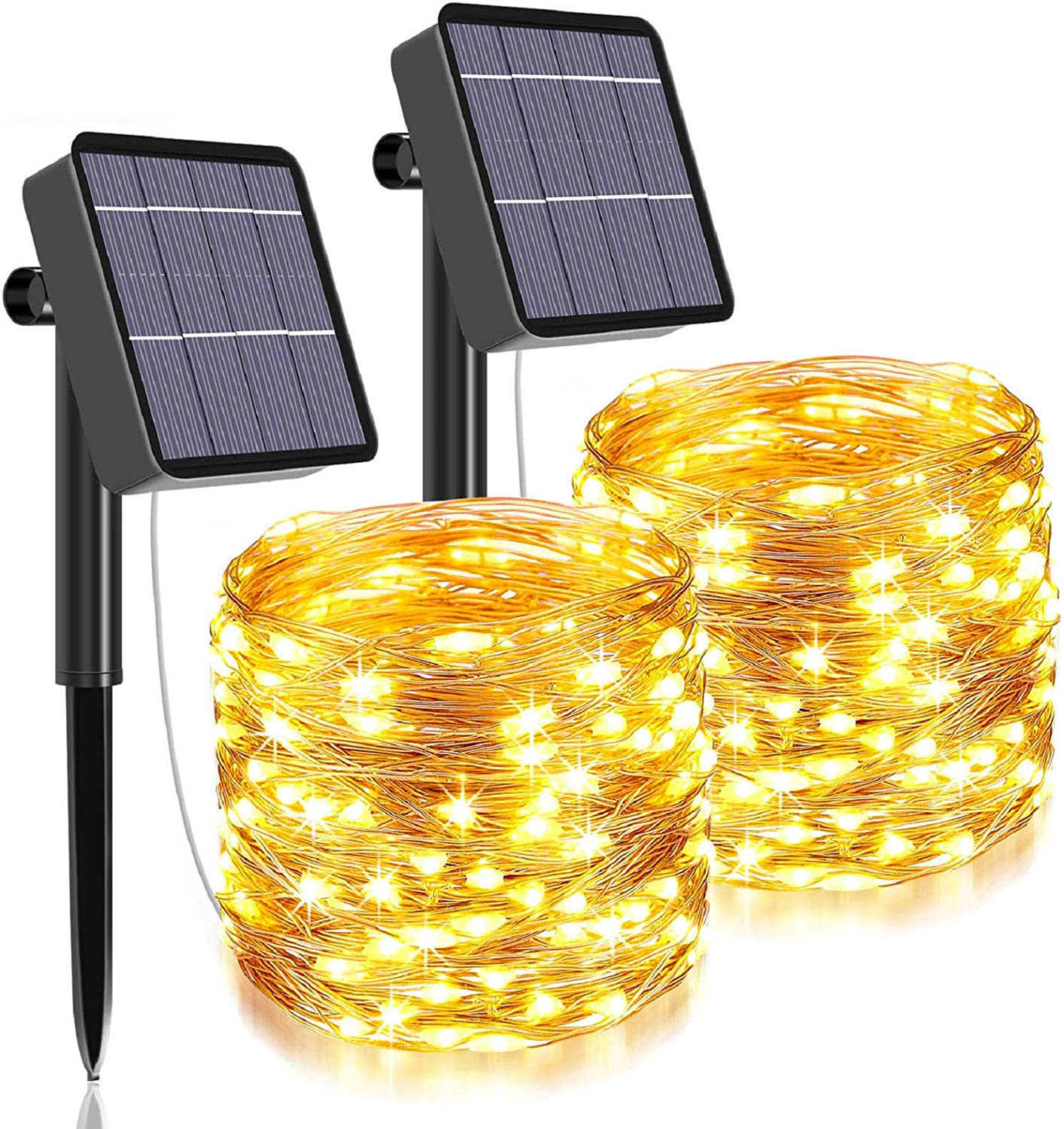 Solar String Lights Outdoor,480 LED Total&160 Ft Ultra Long Solar Light with 1200 Mah Battery Backup,8 Modes Solar Fairy Lights for Garden Patio Yard Party Decoration (2Pack- Warm White)