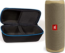 JBL Flip 5 Waterproof Portable Wireless Bluetooth Speaker Bundle with divvi! Protective Hardshell Case - Sand