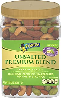 PLANTERS Unsalted Premium Nuts, 34.5 oz. Resealable Container - Contains Roasted California Pistachios, Cashews, Almonds, ...