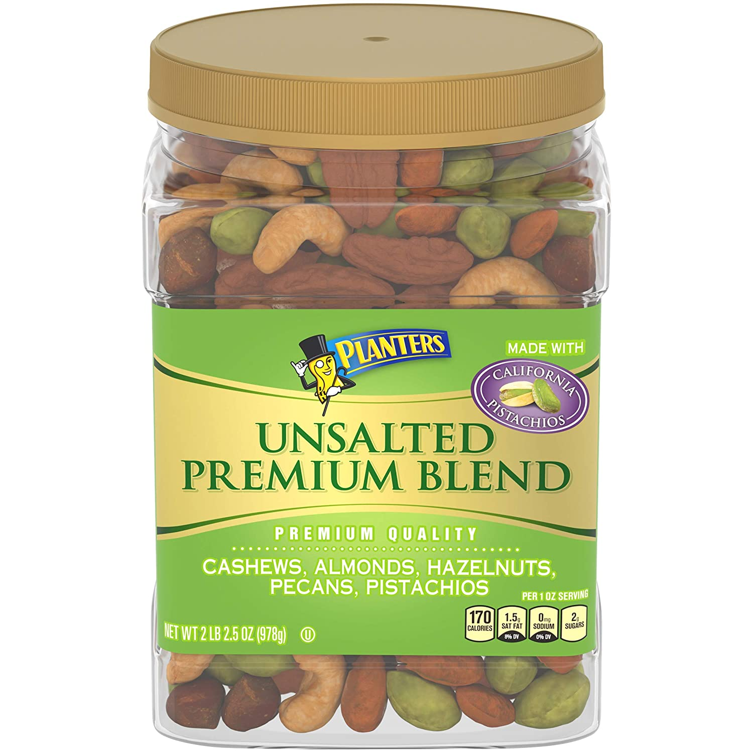 PLANTERS Unsalted Premium Nuts 34.5 Resealable National products - Container Limited time sale oz.