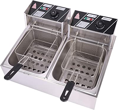OLYM STORE Electric Deep Fryer w/Basket & Lid, Countertop Kitchen Frying Machine, Stainless Steel French Fryer for Turkey, French Fries, Donuts and More, 5KW 60Hz 110V (12L)