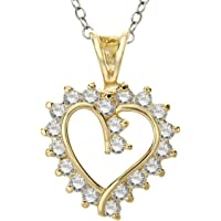 Finecraft 14K Gold Plate Heart Pendant Necklace with Cubic Zirconia