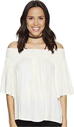 Lin Rayon Crepe Off Shoulder Top with Novelty Elastic Trim