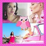 Collage de fotos rosadas