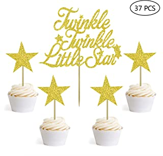 Gold Glitter 1 Twinkle Twinkle Little Star Cake Topper and 36PCS Little Star Cupcake Topper for Birthday Wedding Engagement New Years Eve Party Decorations