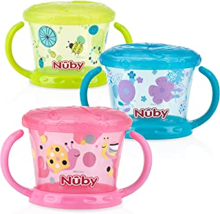 Nuby 3 Piece Designer Series Snack Keeper, Pink/Orange/Aqua