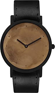 South Lane Stainless Steel Swiss-Quartz Watch with Leather Calfskin Strap, Black, 20 (Model: SS20-dr1-4688)