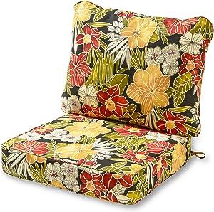 Greendale Home Fashions AZ7820-ALOHA-BLACK Aloha Outdoor 2-Piece Deep Seat Cushion Set