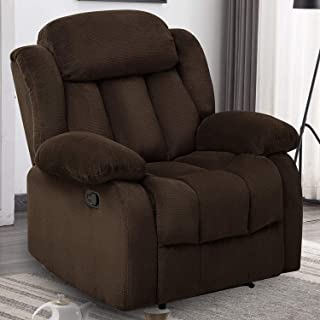 ANJ Breathable Fabric Recliner Chair, Classic Recliners Single Sofa Home Theater Seating (Brown)