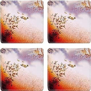MSD Drink Coasters 4 Piece Set Image ID: 24171559 Jewelry and decorative stone Moss Agate macro Raw rough plate Ka