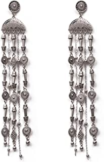 Silver Tone Aztec Metal Statement Drop Earrings