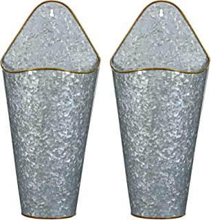 Vnesse Farmhouse Galvanized Wall Planter Decor Style Hanging Wall Vase Planters (2) for Succulents or Herbs - Farmhouse Rustic Wall Decor for Plants, Faux Plants, Cacti Galvanized Steel