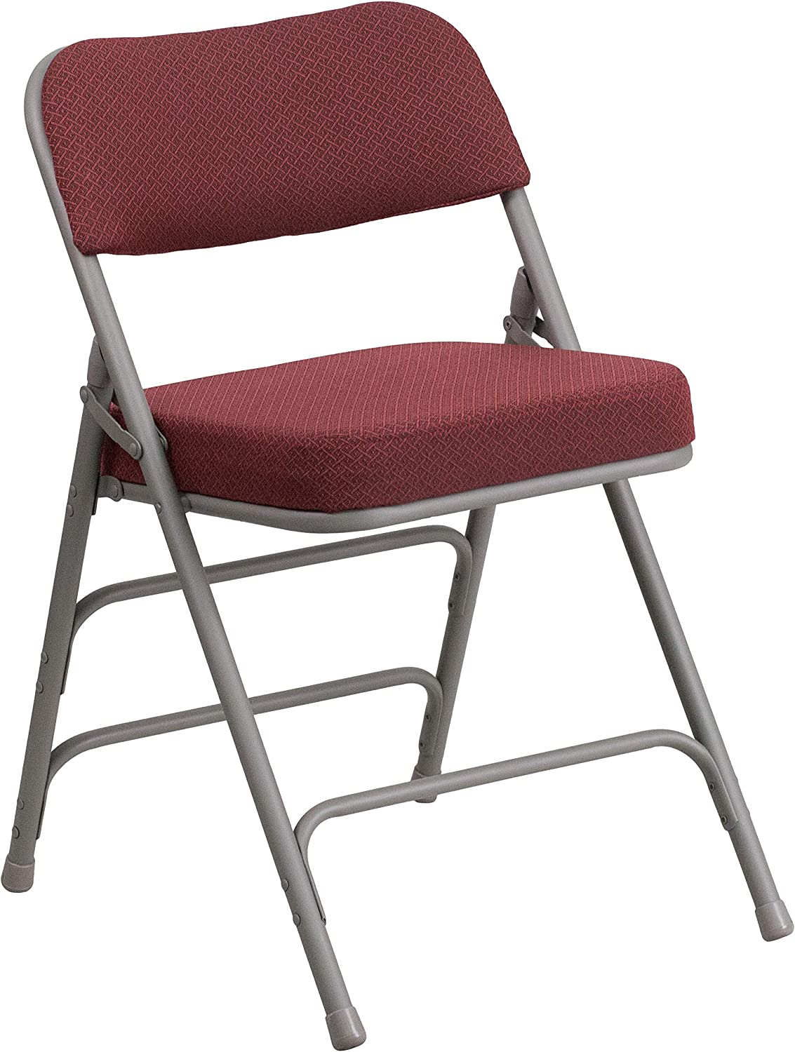 Flash Furniture AW-MC320AF-BG-GG Hercules Series Premium Curved Triple Braced and Double Hinged Burgundy Fabric Upholstered Metal Folding Chair