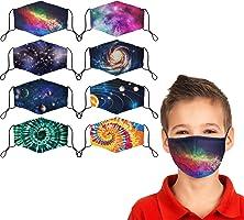 Kids Cloth Face Mask Reusable Washable Children Face Masks Adjustable Galaxy Tie-Dye Masks for Girls Boys Pack of 8