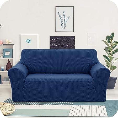 Amazon Brand - Umi Housse de Canapé 2 Places avec Accoudoirs Bleu Housse de Fauteuil Extensible Housse Canape de Jardin