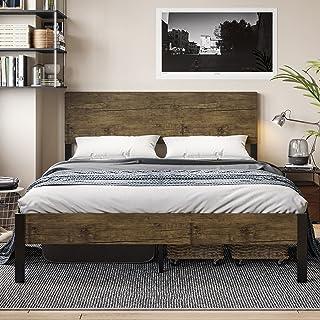 ADORNEVE Cadre de Lit en Métal 160x200cm avec Tête de lit en Bois, lit Double avec Lattes Robustes, Cadre de lit pour Adul...