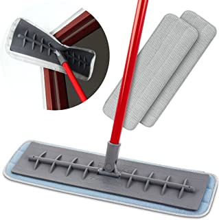 Tyroler Bright Tools 100% Silicone Flexible Head Microfiber Mop 2Pcs Wet and Dry Pad (45cm Wide) | Professional Home Clean...