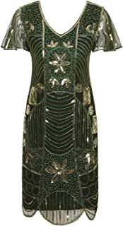 Vintage 1920s Deco Beaded Sequin Embellished Flapper Dress with Sleeves