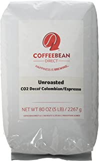 Green Unroasted Co2 Decaf Colombian, Whole Bean Coffee, 5-Pound Bag