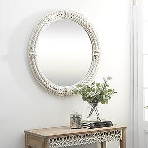 White Coastal Rope Wall Mirror, 36 x 36