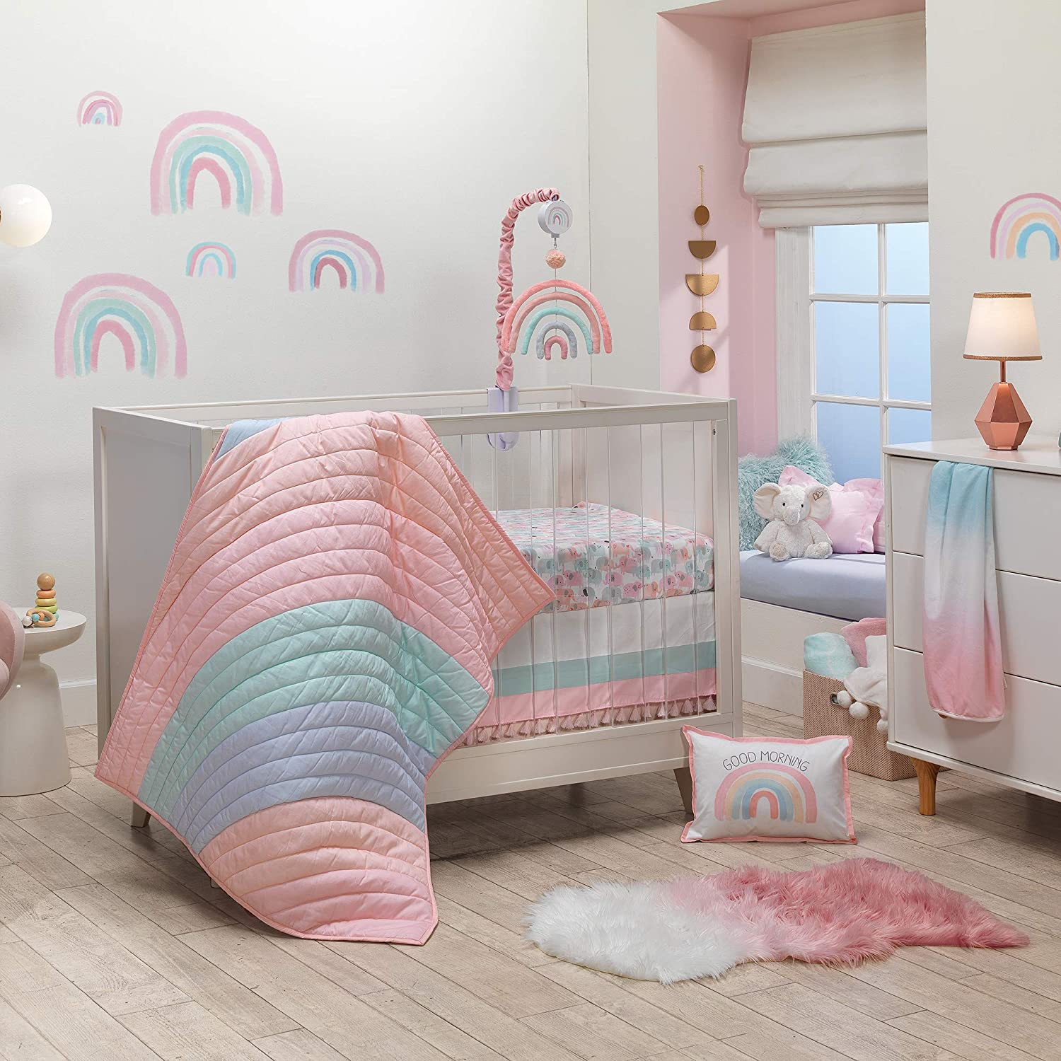 At the price Lambs Ivy High quality Watercolor Pastel Pink Cri Rainbow 5-Piece Baby Mint