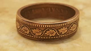 Canadian Leaf One Cent Coin Ring 1858 to 1920