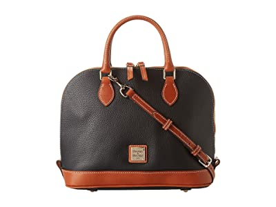 Dooney & Bourke Pebble Zip Zip Satchel (Black w/ Tan Trim) Satchel Handbags
