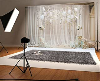 YEELE 7x5ft Wedding Backdrop Bridal Floral Wall Bride Groom Portraits Wedding Decoration Love Engagement Party Photography Background Sweet Anniversary Bridal Shower Photo Booth Studio Props