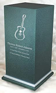 Personalized Engraved Guitar Cremation Urn for Human Ashes-Made in America-Handcrafted in The USA by Amaranthine Urns- Adult Funeral Urn up to 200 lbs Living Weight -Eaton SE- (Forest Green)
