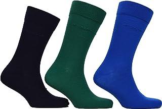 202001 - Calcetines para hombre (3 unidades), color verde, azul y azul marino