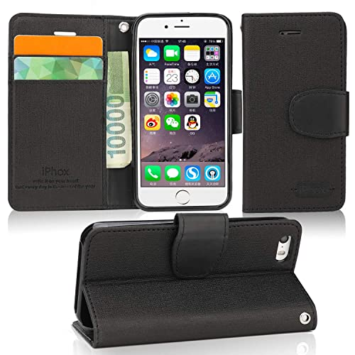 iPhone SE Case, IPHOX iPhone 5S Flip Case, [Black] iPhone 5 & 5S & SE Folio Leather Case with  [Cash & Card Slots] [Kickstand] [Magnetic Closure] Flip Notebook Cover Case for iPhone 5 & 5S & SE,J