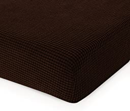 CHUN YI Jacquard Cushion Covers High Stretch Chair Slipcover Furniture Protector for Sofa Settee and Couch Seat Coat(Loveseat, Chocolate)