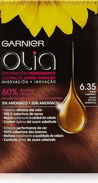 Garnier Olia Coloración Permanente sin Amoniaco, Tono: nº6.35 Rubio Caramelo, Pack of 2