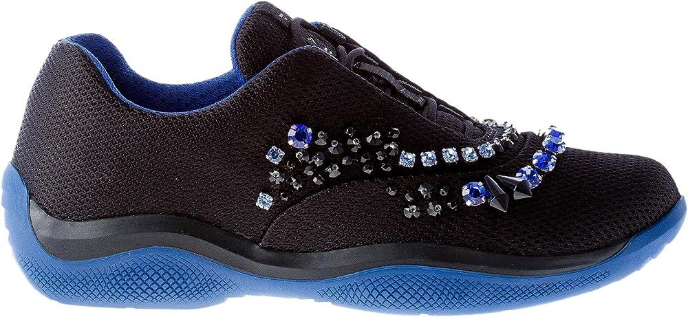 Prada  sneakers da donna, america`s cup in tessuto nero con cristalli colorati 1E784G3H7MF0CAR